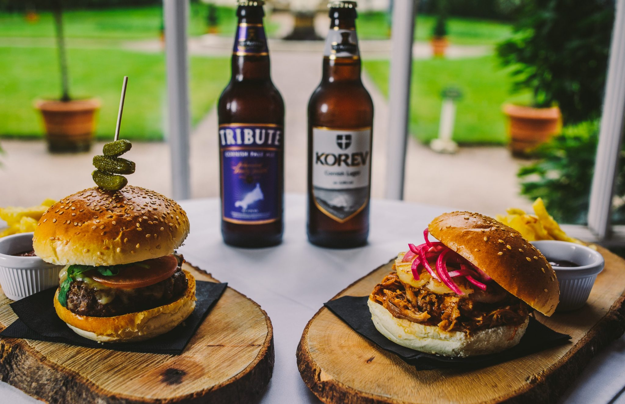 Pulled Pork Burger and Beef Burger with Ale